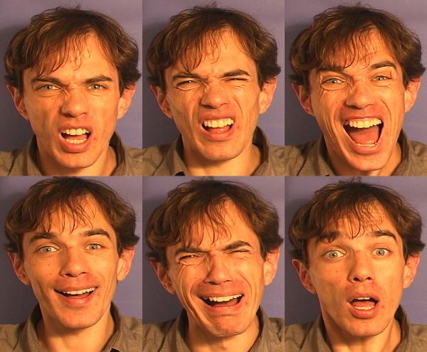 Шесть основных эмоций (слева направо сверху вниз): гнев, отвращение, страх, радость, горе, удивление (фото с сайта vnl.psy.gla.ac.uk)