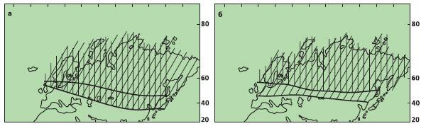 Рис. 3. Положение границы субтропической и умеренной (заштрихована) фитоклиматических областей в средней юре — раннем мелу (а) и позднем мелу — палеогене (б). Изображение «Экология и жизнь»