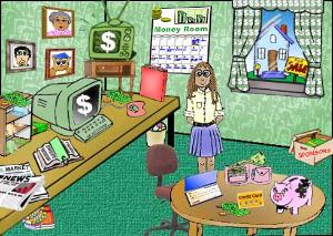 Это заставка с детского сайта www.communitycorner.org, дающего начальные представления о том, откуда берутся деньги. Можно кликнуть по любому объекту, и появится информация о разных экономических приемах (инвестиции, страховка и т. д.), с помощью которых можно заполучить собственные деньги. В Америке детей сызмальства приучают к мысли о больших деньгах