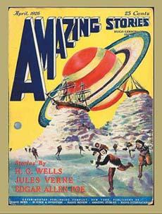 """Обложка первого номера научно-фантастического журнала """"Amazing stories"""", вышедшего в США в 1926 году."""