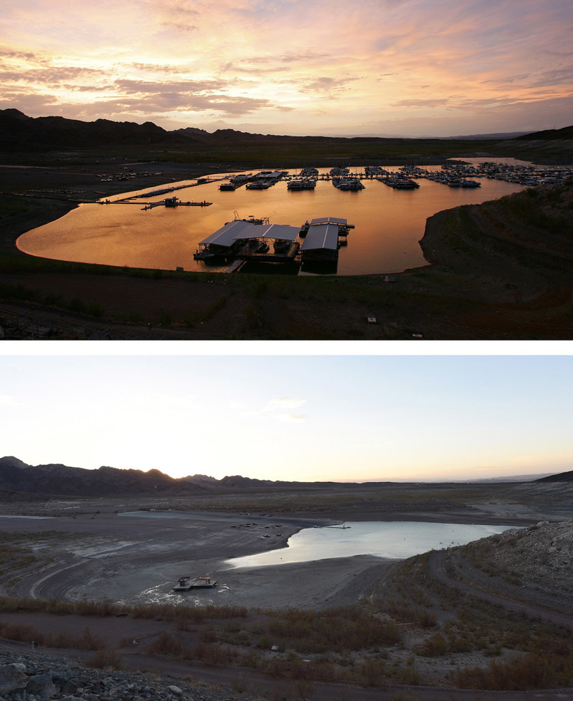 Top: Boats are moored at the Lake Mead Marina on 25 July, 2007. Bottom: The area where the Lake Mead Marina was once located is seen on 17 July, 2014. North America's largest man-made reservoir has dropped below 1,082 feet above sea level, the lowest it's been since the Hoover Dam was built in the 1930s