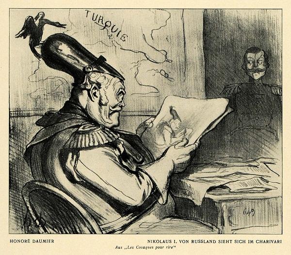 1847. Николай I изучает карикатуру на самого себя.