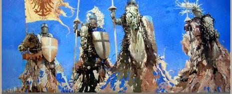 Поршнев говорит о двух империях, западной и восточной, с огромной скоростью распространяющихся на встречу друг другу. Это, разумеется, не так.  Тем более был невозможен...