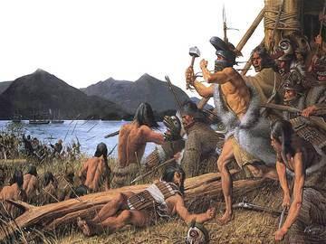 Эпизод битвы при Ситке – обходной манёвр колошей во главе с Катлианом, вождём клана Киксади (Лягушки-Ворона), которого можно узнать по вороньему шлему на голове и кузнечному молоту в руке.