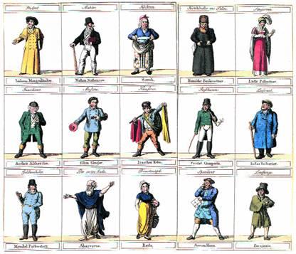 «Галерея поучительных портретов, взятых из жизни». (Типажи евреев.).  Германия,  1815–1820 годы.
