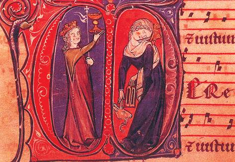 Экклесия и синагога. Миниатюра из служебника аббатства Сен-Пьер. Гент. XIII век