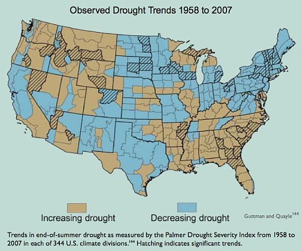 Усиление и ослабление засухи с 1958 по 2007 год