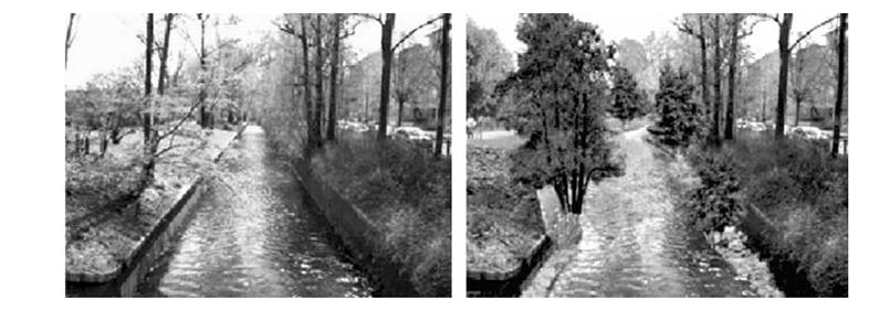 Рис. 2. Слева – текущее состояние участка реки в урбанизированной зоне. Справа – планируемое состояние этого участка после ревитализации.