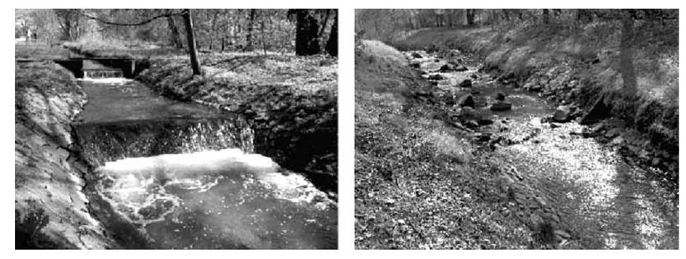 Рис.3. Слева – существующие плотины и дамбы. Справа – замена их каменными глыбами.