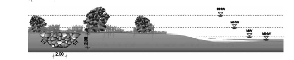 Рис. 5. Схема создания естественной защиты берега реки, где HHW (Höchster Hochwasserstand) – наивысший уровень половодья, MHW (Mittlerer Hochwasserstand) – средний уровень половодья, MW (Mittelwasserstand) – средний уровень воды, MNW (Mittlerer Niedrigwasserstand) – средний уровень межени