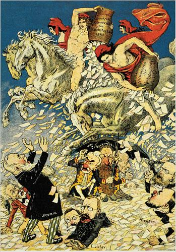 Немецкая карикатура 1898 г.; традиционный политикум тонет с приходом рабочей партии