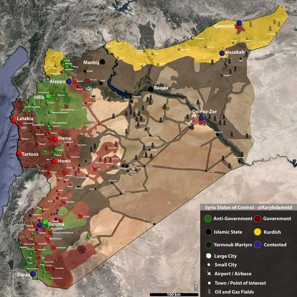 Свежая карта гражданской войны в Сирии и Курдистане. Данные за август 2014