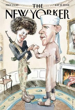"""Скандальная на Обаму с супругой в журнале, считающимся """"серьёзным"""" и """"либеральным"""". Впрочем, психологические опыты показывают, что и либералы в этой стране предпочитают """"белого"""" Обаму"""