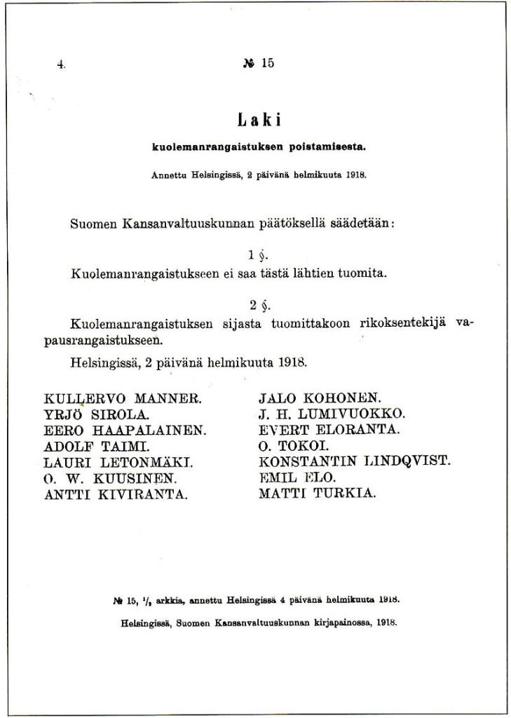 Декрет красного правительства Финляндии об отмене смертной казни. Пуникки были против красного террора...