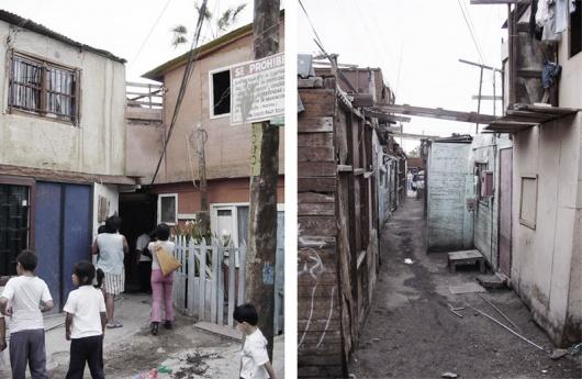Чилийская фавела, ниже - строящийся посёлок для её 122 семей