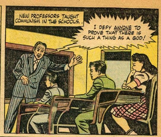 """""""Я брошу вызов любому, кто берется доказать, что Бог существует"""". Реформа школьного образования в действии.  Тот же комикс"""