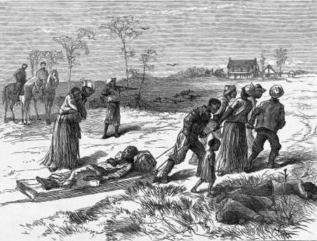 Из Harper's Weekly. После резни в Колфаксе негры хоронят своих мертвецов