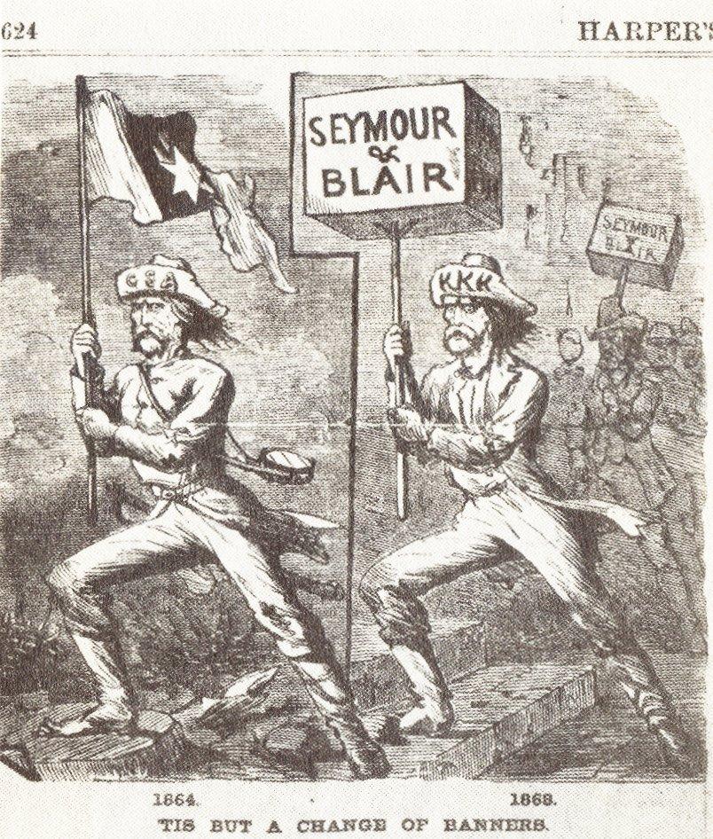 Карикатура из Harper's Weekly: Демократы (на переднем плане) как прикрытие для Ку-Клукс-Клана