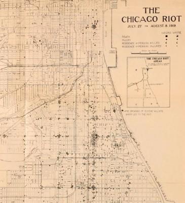 Схема погромов в Чикаго (отмечены черными точками)