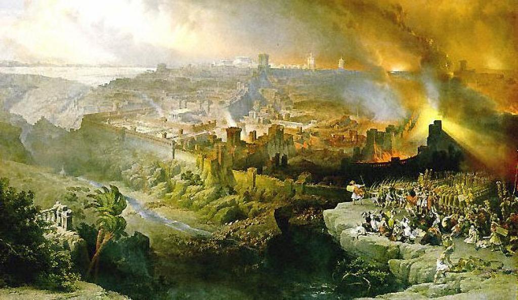 Разрушение Второго храма во время Первой Иудейской войны (70 г. до Р. Х.). Художник Ф. Айец, 1867