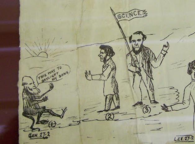 """Дарвин, Томас Хаксли и Тиндал (с флажком """"наука""""). Карикатура нарисована во время поездки Тиндалла с лекциями по Америке."""