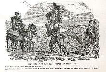 «Какое применение Джек нашёл туркам под Балаклавой» (Карикатура из журнала 1856 г.) Британский офицер: — Привет, Джек! Чем ты занимаешься? Джек: — Видите ли, Ваша честь, ездить верхом намного приятнее, чем ходить пешком, а когда этот парень устанет, я оседлаю другого голубка!