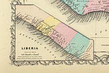 Карта Либерии 1856 года