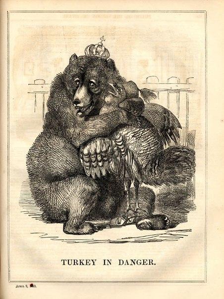 """""""Турция в опасности!"""" - карикатура времен Крымской войны. Британия, 9 апреля 1853 года."""
