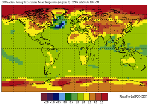 Изменение температуры воздуха к 2050м относительно климата 1961-1990 годов согласно расчетам CCCma A2. Видно, что сильнее теплеет суша в высоких широтах.