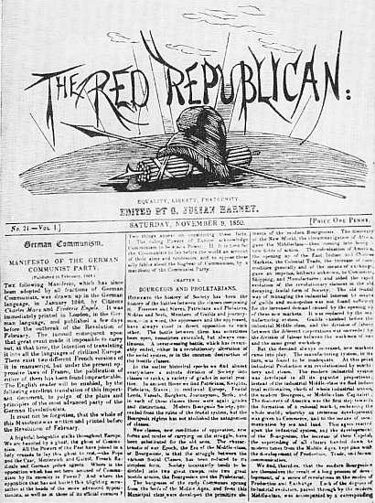 Титульный лист английского журнала «Красный республиканец» с текстом «Манифеста Коммунистической партии»