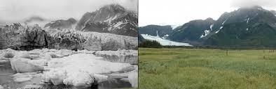 Отступление ледника Педерсена на Аляске. Слева — 1917 год, справа — 2005-й. (Изображения The Glacier Photograph Collection, National Snow and Ice Data Center / World Data Center for Glaciology.)