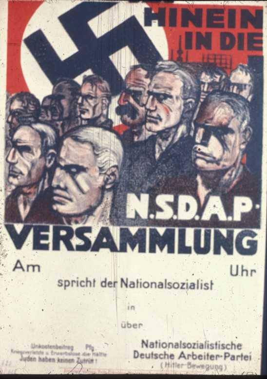 Плакат приглашает на митинг НСДАП