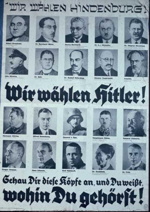"""""""Мы выбираем Гиндербурга"""" (портреты евреев и социалистов), """"Мы выбираем Гитлера"""" (известные нацисты и патриоты)."""