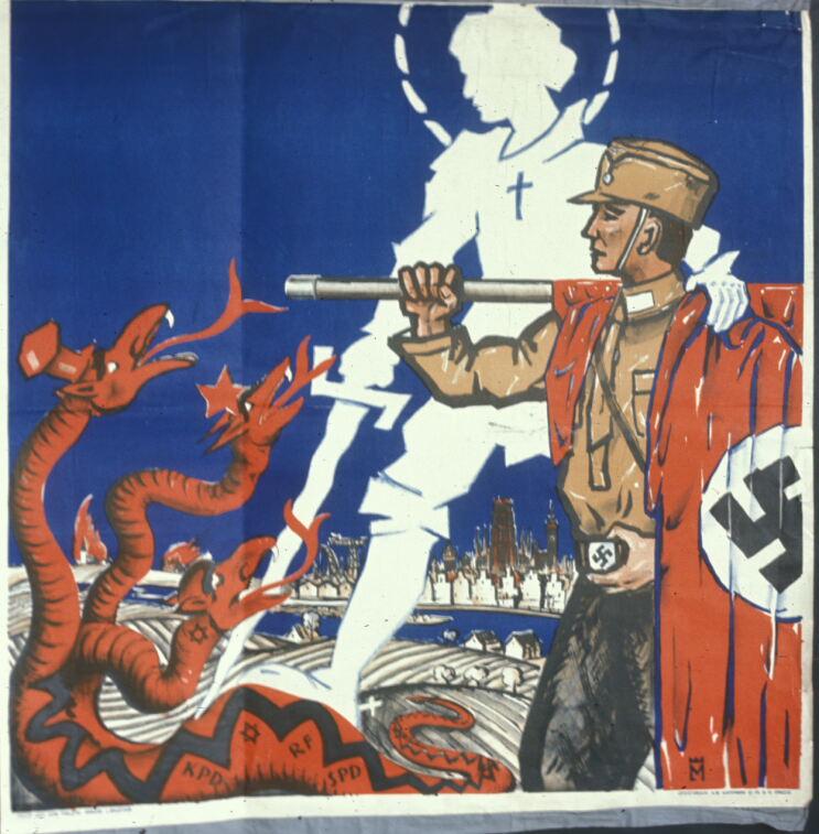 Нацисты как св. Георгий. Избирательный плакат начала 30-х
