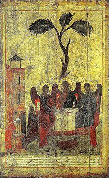 «Святая Троица (Зырянская Троица)», последняя четверть XIV века (после 1379 года), дерево, темпера; ВГИАХМЗ, Вологда