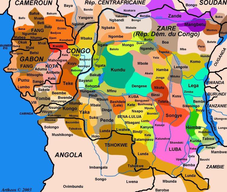 Современное расселение народов Конго