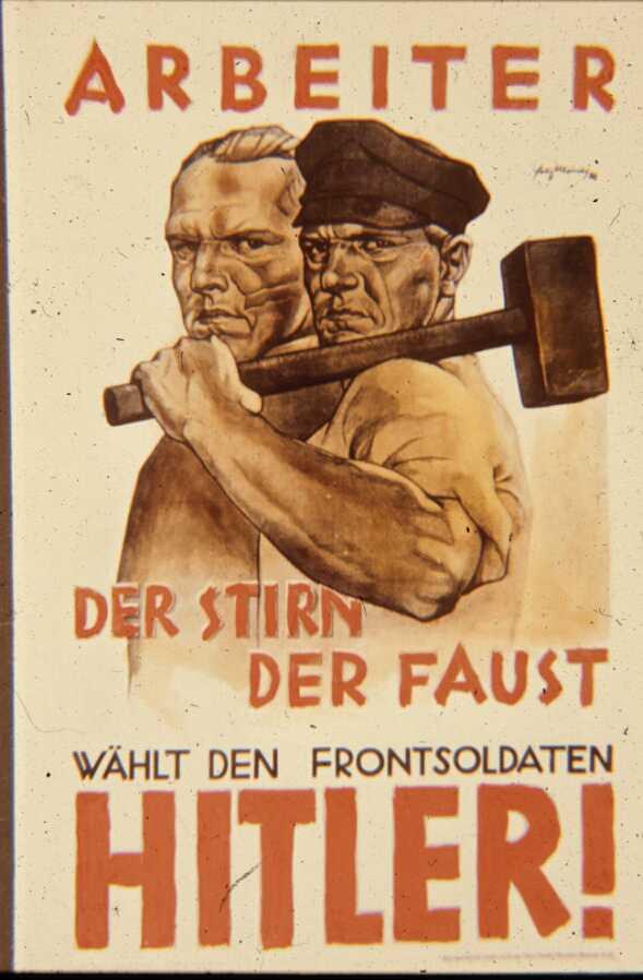 Плакат к рабочим: Голова и кулак выберут фронтовых солдат!