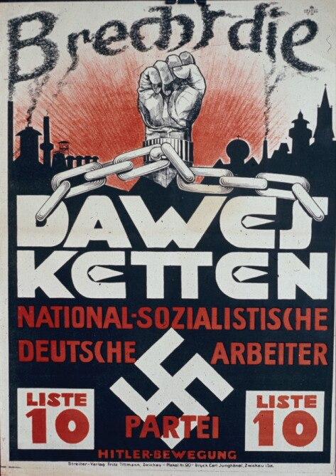 Плакат 1929 г.: разорвём  оковы плана Дауэрса (принятого в 1924 г.)