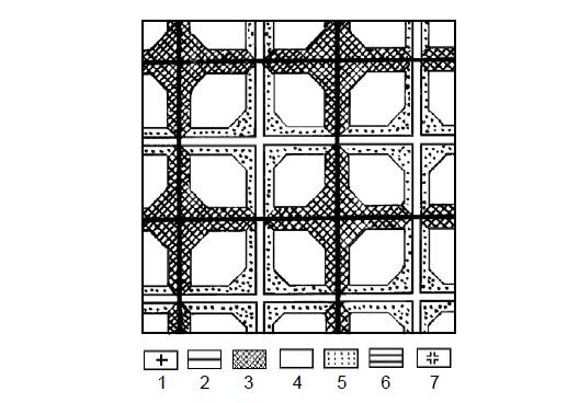 Рис. 3. Территория, поляризованная двумя сетями коммуникаций Условные знаки объяснены в табл. 1 и в тексте.