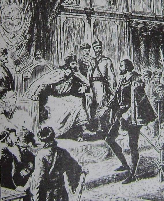 Ричард Ченслер на приёме у русского царя. Фрагмент старинной французской гравюры