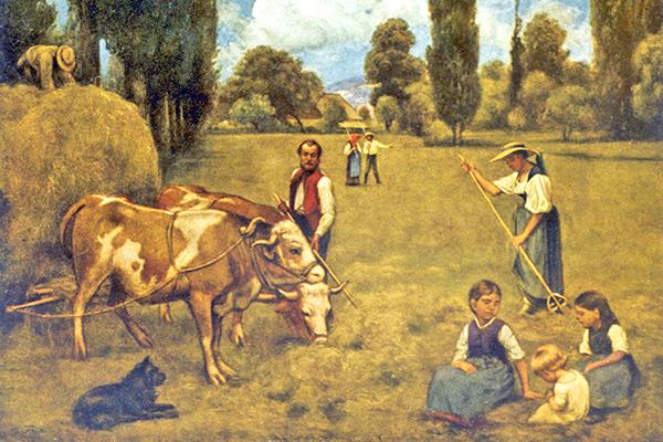 Европейская семья занимается сельским хозяйством. Изображение: Mary Evans Picture Library / Global Look