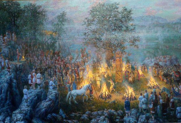 Картина художника Д. Фисунова, «Ведический праздник»