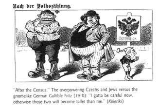 """На карикатуре 1910 г. маленький гномообразный Доверчивый Фриц стоит рядом с огромными и толстыми чехом и евреем и говорит: """"Мне надо быть осторожнее, а то как бы они не стали больше меня""""."""