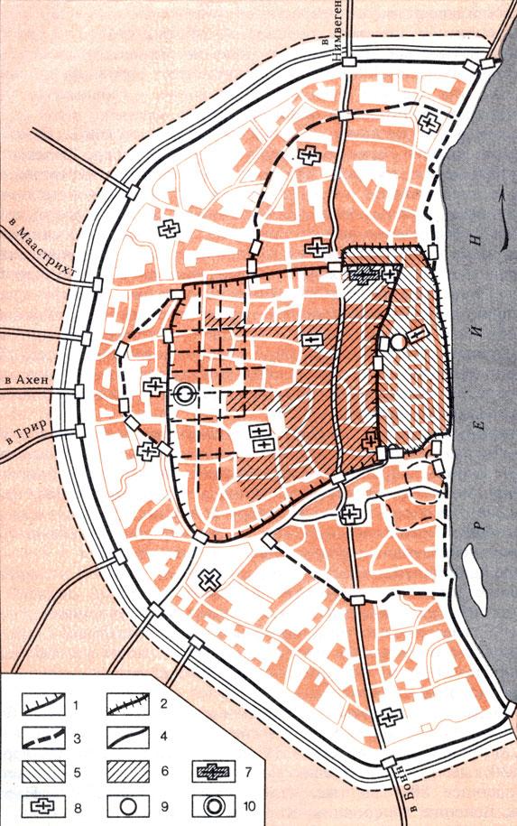Средневековый город (Кёльн в конце XII в.): 1 - римские стены; 2 - стены X в.; 3 - стены начала XII в.; 4 - стены конца XII в.; 5 - торгово-ремесленные поселения; 6 - резиденция архиепископа; 7 - собор; 8 - церкви; 9 - старый рынок; 10 - новый рынок. Одним из наиболее распространенных типов городов средневековья были так называемые 'многоядерные' города, возникающие в результате слияния нескольких 'ядер': первоначального поселения, позднейшего укрепления, торгово-ремесленного посада с рынком и т. п. Так, например, возник средневековый Кёльн. В его основе лежат римский укрепленный лагерь, резиденция местного архиепископа (конец IX в.), торгово-ремесленное поселение с рынком (X в.).. В XI- XII столетиях территория города и его население резко возросли