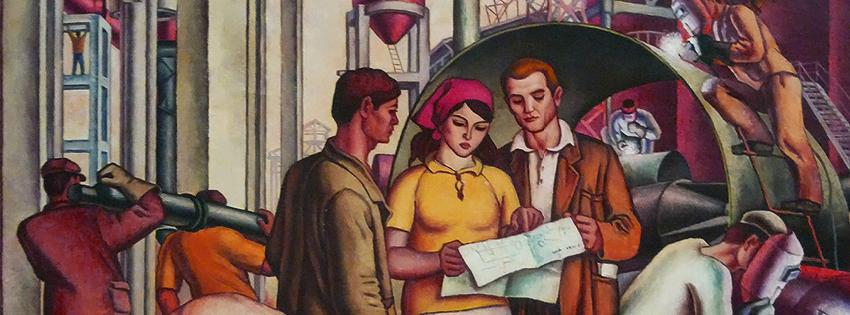Представления о роли женщин в коммунистической Албании - она объясняет, а товарищи её слушают