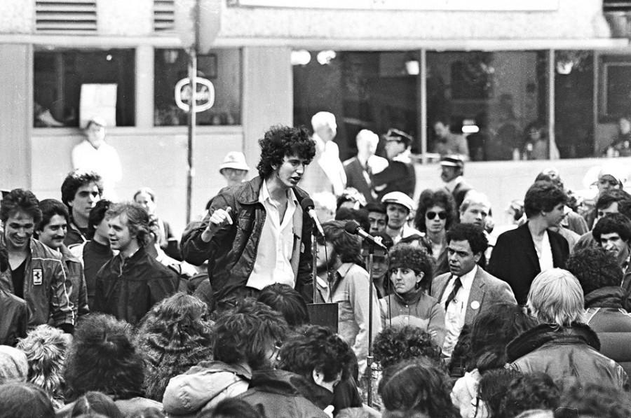 Билл де Блазио выступает на студенческом митинге в 1981 году. Todd Maisel/Polaris
