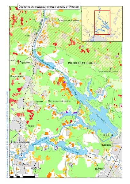 Карта вырубок и застроенных участков за 1992-2008 годы в окрестностях водохранилищ к северу от Москвы