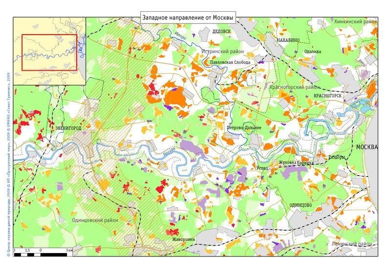 Карта вырубок и застроенных участков за 1992-2008 годы вдоль течения Москвы-реки от Звенигорода до столицы