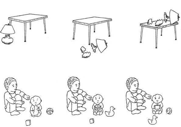 Лампа разбилась, потому что она упала со стола Мальчик берет ребенка, который держит кубик Рис. 6.3. Примеры тестовых заданий на восприятие синтаксических конструкций  (Huttenlocher, Vasilyeva et al., 2002)