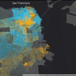 Картографируя города: разделение кварталов на бедные и богатые хорошо видно